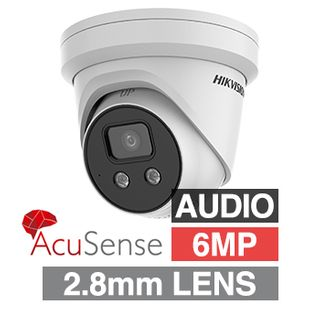 """HIKVISION, 6MP AcuSense G2 HD-IP Outdoor Turret camera with strobe, audible alarm & 2 way audio, White, 2.8mm fixed, 30m IR, WDR, 1/2.4"""" CMOS, H.265/H.265+, IP67, Tri-axis, 12V DC/PoE"""
