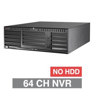 HIKVISION, HD-IP NVR, 64 channel, 512Mbps bandwidth, NO HDD, (16x 10TB max), RAID, VMD, USB/Network backup, 2x Ethernet, 2x USB2.0 & 2x USB3.0, 1 Audio In/Out, 2x HDMI (4K), 1x VGA