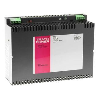 TRACO, 24V DC din rail mount power supply, 24-28V DC, 24amp, 243mm x 83mm x 177.2mm (LxWxD).