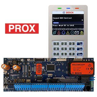 BOSCH, Solution 6000, Control panel PCB (CC600PB) + WHITE Smart Prox key pad (CP722B), Integrated proximity reader, Alphanumeric LCD, 144 zone, Touch tone & backlit keys