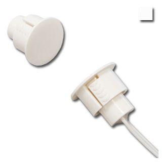 "TAG, Reed switch (magnetic contact), Steel door, Flush (recessed) mount, White, N/C, 1"" (25.4mm) diameter x  0.84"" (21.34mm) length, 1 1/2"" (38.1mm) wide gap, 12"" (304.8mm) leads"