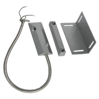 "SECOR, Reed switch (magnetic contact), Overhead door with adjustable L bracket, Surface mount, Metal, N/C, 2"" (50mm) gap, 25"" (630mm) armoured lead, Suits roller shutters"