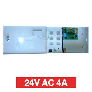 PSS, Power supply, 24V AC 4A, Wall mount, Short circuit protection, 9 x 1A fused outputs, Circuit status LEDs, Voltage display, 362(W) x 235(H) x 92(D)mm, Suits CCTV apps