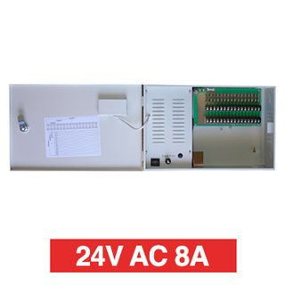 PSS, Power supply, 24V AC 8A, Wall mount, Short circuit protection, 16 x 1A fused outputs, Circuit status LEDs, Voltage display, 362(W) x 235(H) x 92(D)mm, Suits CCTV apps