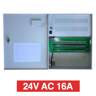 PSS, Power supply, 24V AC 16A, Wall mount, 32 x 1A fused outputs, Circuit status LEDs, Voltage display, 435(W) x  345(H) x 120(D)mm, Suits CCTV apps
