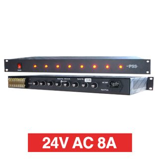 "PSS, Power supply, 24V AC 8A, 1RU 19"" rack mount, Overload/Over Voltage/Input fuse protection, 8 x 1A fused outputs, Circuit status LEDs, 441(W) x 45(H) x 200(D)mm, Suits CCTV apps"