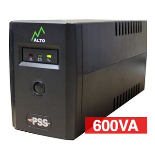 PSS, Eco Series, 600 VA True line interactive UPS, Power filtering (lightning and surge protection), Short circuit/overload protection, Power management software, 101(W) x 142(H) x 298(D)mm
