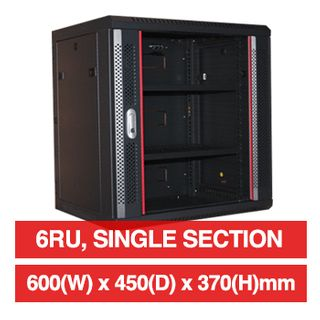 "PSS, 6RU 19"" Rack Cabinet, Wall mount, 600(W) x 370(H) x 450(D)mm, With glass door and front vent,  Dark grey powder coated finish, 60kg load capacity"