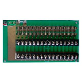 PSS, Fused power distribution board, 24V AC input, 16x M205 1 Amp fused outputs, Screw terminals, Upgradeable fuses