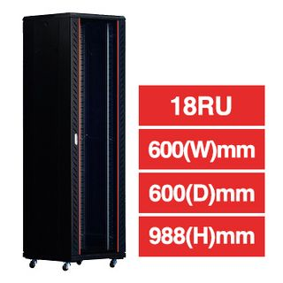 "PSS, 18RU 19"" Rack Cabinet, Floor mount, 600(W) x 988(H) x 600(D)mm, Dark grey powder coated finish, Includes 2x shelves, 800kg load capacity"