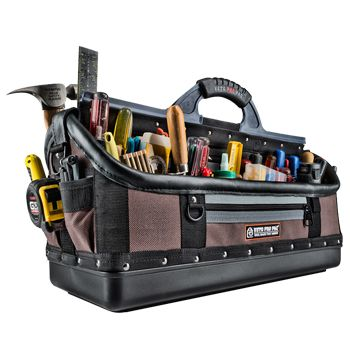 VETO PRO PAC, Contractor Series, Extra-large HVAC technician tool bag, Open style, 58 tiered pockets, 4 zippered pockets, Weather resistant base & fabric, 648(L) x 241(W) x 432(H)mm