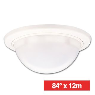 TAKEX, Detector, PIR, Ceiling mount, 84deg wide angle 12 x 12m coverage, 4.9m max mount height, Mirror optics, Adjustable sensitivity, 17 pairs sensitive zones, N/O and N/C contacts, 9-18V DC, 25mA,