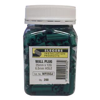 SLEGERS, Star plugs, Masonry, 12 gauge x 25mm length, Green, Jar of 200
