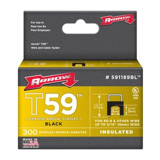 "ARROW, Staples, T59, Insulated, 5/16"" 8mm(H) x 8mm(W), Black, Pkt 300"