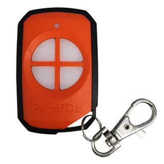 ELSEMA, PentaFOB Transmitter, 4 Channel, Hand held pendant/keyring, 433 MHz FM signal, Includes 3.3V battery, Orange