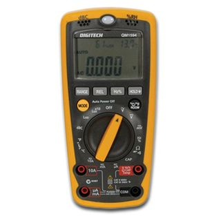 DIGITECH,  Multimeter, digital, autoranging, Full range protection, DC V, AC V, DC A, Ohms, Continiity with buzzer, Diode test, Temp, Lux indicator,