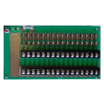 PSS, Fused Power distribution board, 24V AC input and 16x M205 1 Amp fused outputs, screw terminals,