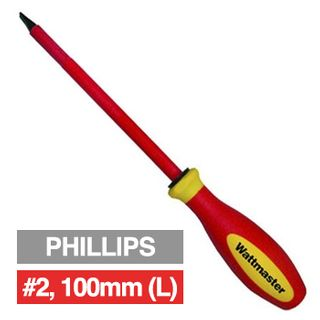 WATTMASTER, Screwdriver, Phillips, #2, 100mm shaft length, 1000V insulated,