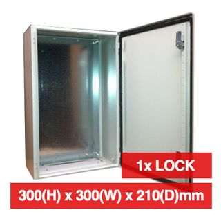 PSS, Enclosure, Metal, Beige, Weather resistant, IP66 rated, 300(H) x 300(W) x 210(D)mm, With cabinet lock,