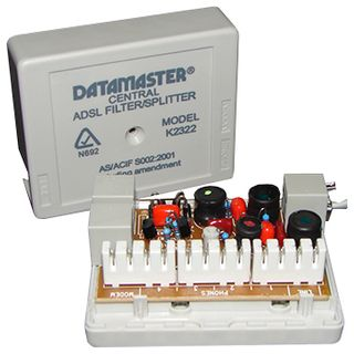 DATAMASTER, ADSL filter, Central line filter/splitter, Also contains alternative internal krone punchdown IDC connections for permanent installation,