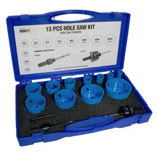 CABAC, Hole saw kit, 13 piece professional, sizes 16, 20, 22, 25, 32, 40, 44, 51, 64, 76mm + arbor,  pilot drill & adaptor,