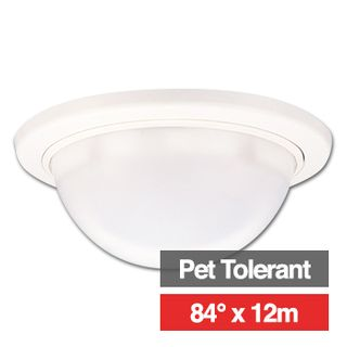 TAKEX, Detector, PIR, Ceiling mount, Pet tolerant, 84deg wide angle 12 x 12m coverage, 4.9m max mount height, Mirror optics, Adjustable sensitivity, N/O and N/C contacts, 9-18V DC, 25mA,