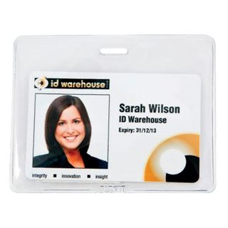 NETDIGITAL, Card holder, Flexible, Single sleeve, Clear, Landscape, With centre slot, Ideal for single or back to back proximity/photo ID/smart cards