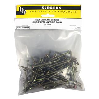 SLEGERS, Screws, Bugle head, Needle point, 7 gauge x 50mm length, Packet of 250,