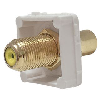 DATAMASTER, RCA Type mech, Yellow , RCA socket front and 'F' Type socket rear, White mech, Suit Datamaster & Clipsal Plate,