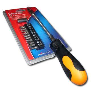 CRESCENT, Screwdriver set, Flexiable shaft, Includes 12 bit set, Cushioned handle