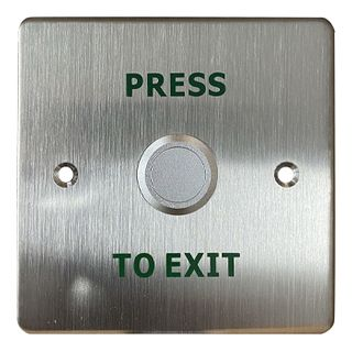 "ULTRA ACCESS, European Switch plate, Wall, Labelled ""Press to Exit"", Stainless steel, suits CP32SMB/PTE surface box, N/O and N/C contacts, Double pole"