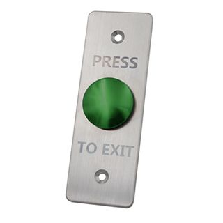 "ULTRA ACCESS, Switch plate, Wall, Labelled ""Press to Exit"", Stainless steel, With green low profile mushroom head push button, N/O and N/C contacts, 22mm Dia Hole,"