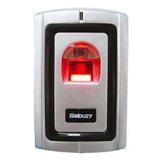 SEBURY, Fingerprint reader, Up to 1000 fingerprints, Standalone or 26 Bit Wiegand output, Metal, Vandal/corrosion resistant, Anti tamper, Red LED, 12V DC,