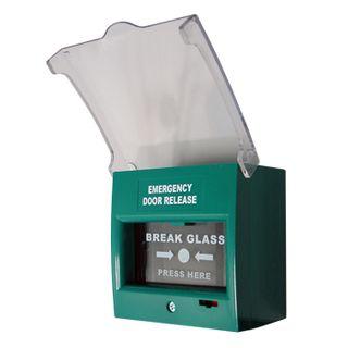 "ULTRA ACCESS, Break glass unit, GREEN, Unit reads ""Emergency Door Release"", Glass reads ""Emergency Break Glass Press Here"", 2 pole, Double change over contact,"