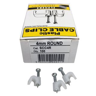 SLEGERS, Plastic cable clips, Round, 4mm, White, Box of 100,
