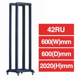 PSS, 42RU Open Frame Rack, Floor mount, 600 (w) x 600 (d) x 2020mm (h), With detachable castors & stablizers, Dark grey,