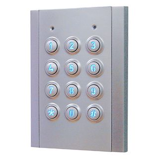 NIDAC (Presco), Keypad, 4x3 style, Vandal and weather resistant, IP67, Satin chrome, Backlit keys, Wiegand, Compatible with all Presco decoders, 5-14V DC, 65ma @ 12V DC,