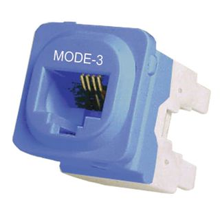 DATAMASTER, RJ12/45 'Mode 3' Keystone Jack, 4P Punchdown style, suits Clipsal plates   (Line In - 4 & 5, Bl/Wh.   Phone Out - 3 & 6, Or/Wh),
