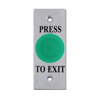 "ULTRA ACCESS, Switch plate, Wall, Labelled ""Press to Exit"", Architrave, Stainless steel, With green push button, N/O and N/C contacts,"