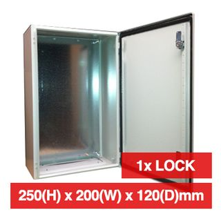 PSS, Enclosure, Metal, Beige, Weather resistant, IP66 rated, 250(H) x 200(W) x 120(D)mm, With cabinet lock,