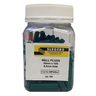 SLEGERS, Star plugs, Masonry, 12 gauge x 35mm length, Green, Jar of 100