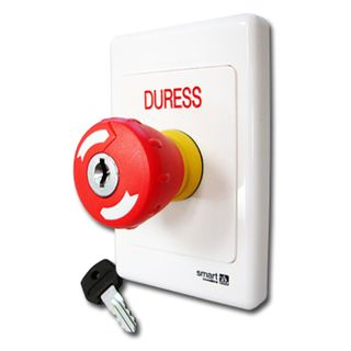 "ULTRA ACCESS, Switch plate, Wall, Labelled ""DURESS"", 2000 series, With red mushroom head push button, Key to release, N/O and N/C contacts,"