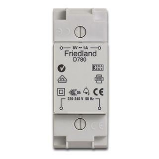 FRIEDLAND, Transformer, 240V AC to 8V AC 1 amp, Suits door chimes and bells,