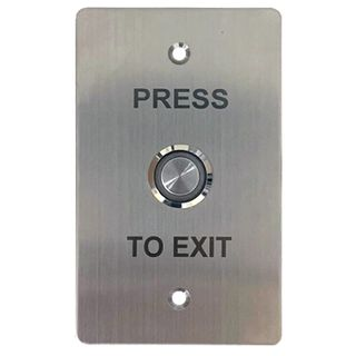 "ULTRA ACCESS, Switch plate, Wall, Labelled ""Press to Exit"", Stainless steel, With stainless steel Green illuminated push button, N/O and N/C contacts,"