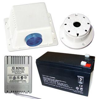 BOSCH, Siren kit, White Siren cover, Reflex horn speaker, Small strobe light, Tamper switch, 12V 7AH Battery, 18V AC 1.33A plug pack, Top Hat / flush screamer,
