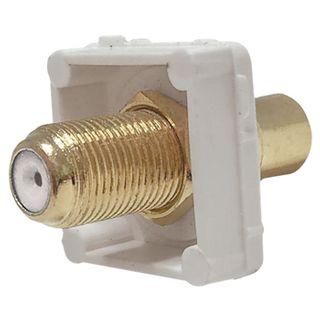 DATAMASTER, RCA Type mech, White, RCA socket front and 'F' Type socket rear, White mech, Suit Datamaster & Clipsal Plate,
