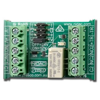 NIDAC, Relay, Dual input, 12-24V DC, DPDT, 30V DC 2A contacts, + or - trigger input, +, - or voltage free common of relay, LED status indicator, DOES NOT WORK WITH SOL 6000