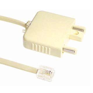 TELEMASTER, Telephone plug adaptor, Modular, With Telephone lead, RJ12 (6x4), 2.0Mtr, Ivory, Adapts 6P4C modular plugs to 606 telephone plugs, RJ12 or RJ45 to 606,
