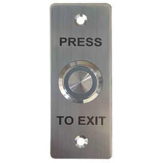 "ULTRA ACCESS, Switch plate, Wall, Architrave, Stainless steel, Labelled ""Press to Exit"", With stainless steel Green illuminated push button, Plate 35mm x 90mm, N/O and N/C contacts,"