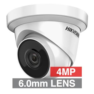 """HIKVISION, 4MP HD-IP Outdoor Turret camera, Metal, White, 6mm fixed lens, 30m IR, DWDR, Day/Night (ICR), 1/3"""" CMOS, H.265/H.265+, IP67, Tri-axis, 12V DC/PoE"""